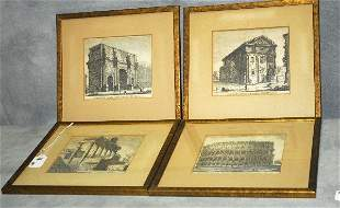 "4 antique engravings. H:10.25"" W:11.25"""