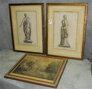 "3 antique engravings. Largest H:19.5"" W:14"""