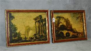 "Pair of Italian prints on canvas. H:12.5"" W:15.75"""