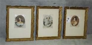 "3 Austrian paintings on silk. H:9"" W:7"""