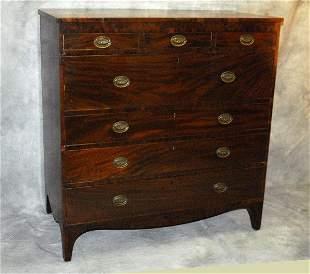 "19th c English mahogany 7 drawer chest. H:49"" W:47"""