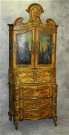 19th c Italian Venetian painted 2 part secretary desk.
