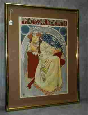 Alphonse Mucha (1860-1939) color enhanced print signed