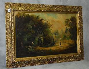 Mystery artist oil on canvas cottage scene signed lower