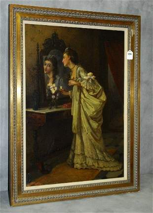 Oil on canvas interior scene woman with reflection.