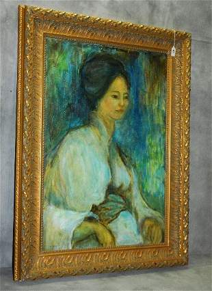 Susan Gaines oil on board of Oriental woman signed