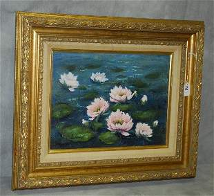 Frank H. Ladendorf oil on canvas of water lillies