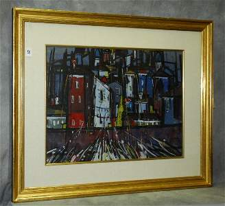 Marcel Mouly (French 1918-2008) Acrylic painting titled
