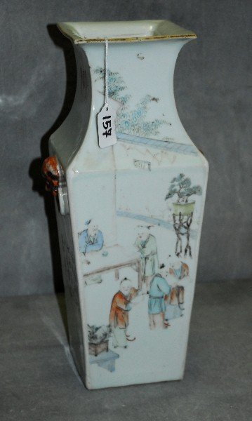 Chinese 19th c porcelain square form vase with