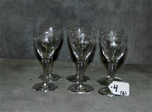 6 etched glass cordials. .