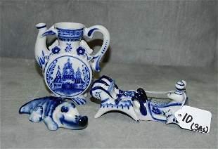 3 Delft style porcelain pieces. .