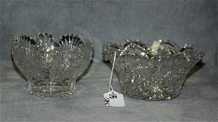 """Two Amercan 'Brilliant """" cutglass oval bowls. H:6"""""""