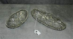 """Two American """"Brilliant"""" cutglass oval dishes. H:10.75"""""""
