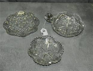 "Three American ""Brilliant"" cutglass pieces comprised od"