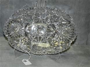 "Large american ""Brilliant "" cutglass oval bowl. ."