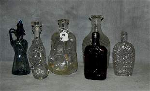 Seven assorted pieces of glass comprised of a blue