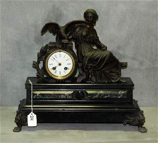 French figural bronzed mantle clock with signed