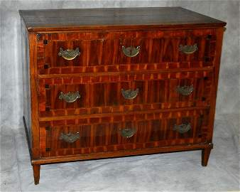 18th C Italian neoclassical fruitwood inlaid 3 drawer