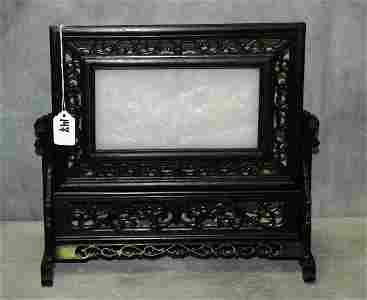Chinese white jade table screen in carved hardwood