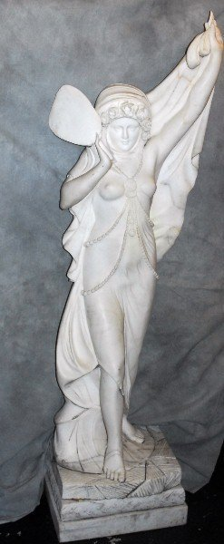 Large life size Deco style marble figure of partially