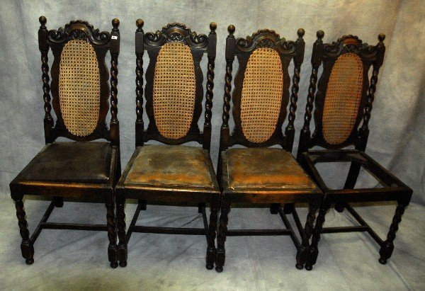 """4 Jacobean style carved oak cane back chairs . H:42"""""""