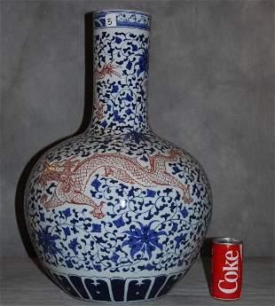 Large chinese porcelain dragon vase signed on neck