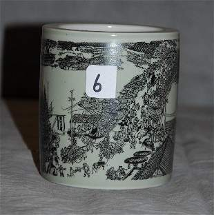 Chinese porcelain brush pot with caligraphy