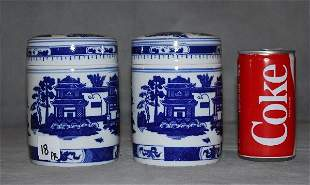Pair of Chinese export blue and white porcelain tea