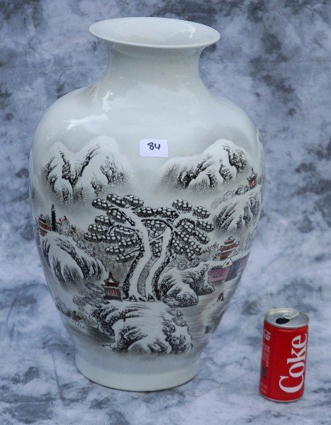 Chinese export black and white porcelain vase
