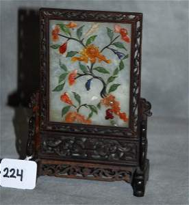 19th C Chinese jade and other hardstone table screen