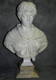 Large 19th C Italian carved Carrera marble bust of a