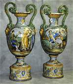 Large pair 19th C Italian Majolica two handled urns on
