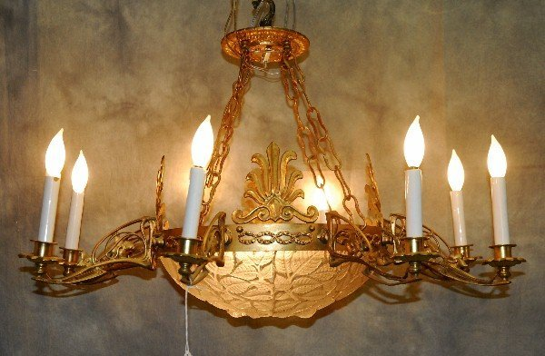 R. Lalique signed crystal and bronze 9 light
