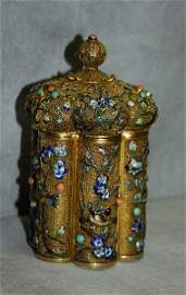 Very fine Chinese gold over sterling silver and enamel