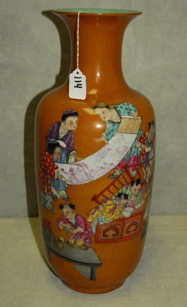 Antique Chinese porcelain vase with rust color