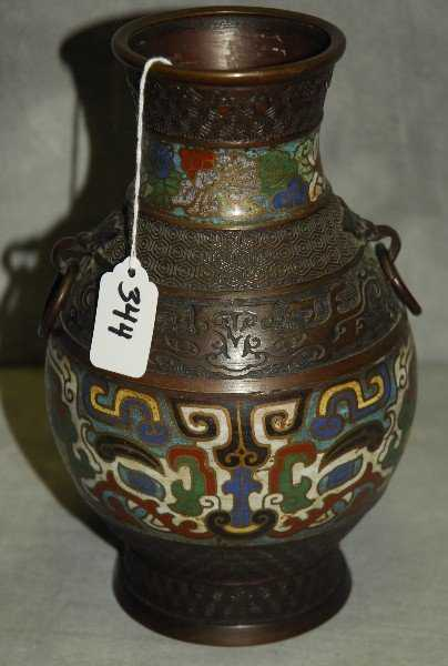 Chinese Bronze And Champleve Vase
