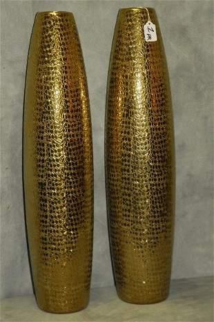 "Large pair of gilt glass vases. H:27"""