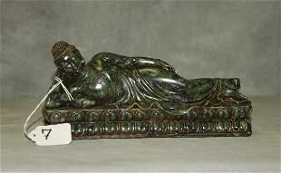 "Chinese hardstone figure of a reclining Buddha. H:4.5"""