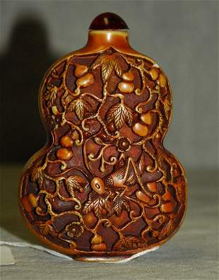 """Chinese carved tea stained snuff bottle. H:4"""""""