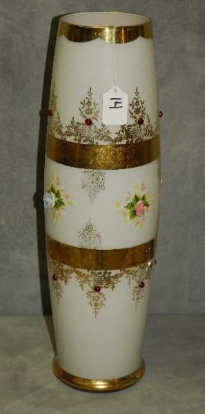 Large Gilt decorated opaline glass vase with applied