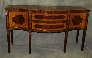 "Federal style inlaid mahogany sideboard. H:37"" W:63"""