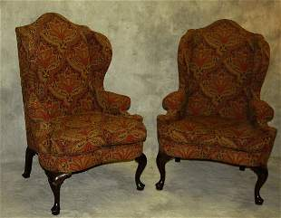"""Pair Queen Anne style mahogany wing chairs. H:49"""" W:34"""""""