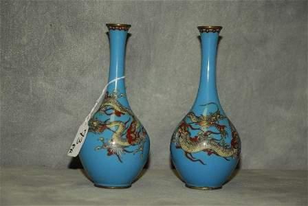 Pair antique Chinese cloisonne bottle neck dragon