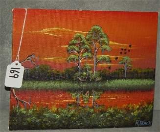Al Black Florida Highwaymen artist oil on board signed