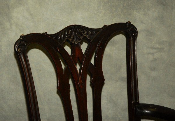 "Chippendale style mahogany rocking chair. H:35"" W:23"" - 2"