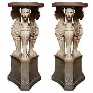 Pair of faux granite and cultured marble pedestals,