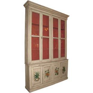 Large 19th C two-piece painted breakfront/cabinet,