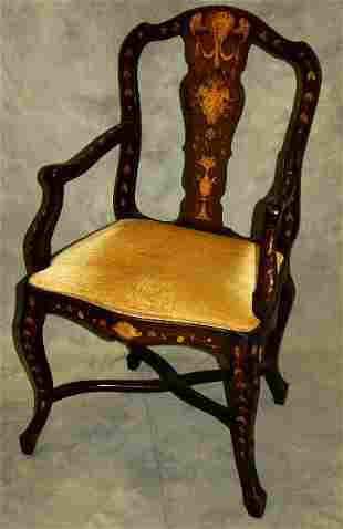 "Italian 19th C heavily inlaid arm chair. H:41"" W:22.5"""