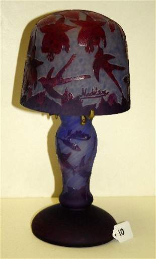 Signed cameo ary glass lamp with birds and floral