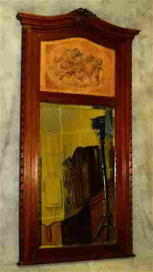 19th C French Trumeau mirror with inset carved plaque